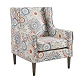Madison Park Vienna Accent Chairs-Solid Wood, Plywood, Wing Back Living Armchair Modern Classic Style Family Room Sofa Furniture, Red