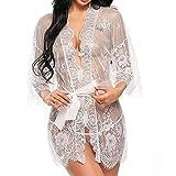 UMIPUBO Mujer Ropa de Dormir Conjunto Sexy Lingerie Transparente Lace Lenceria Erotica Babydoll Ropa Interior (Blanco, XL)