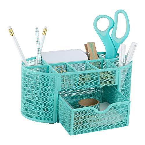 Blu Monaco Aqua - Organizer da scrivania con cassetto, per casa o ufficio