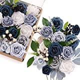 Ling's moment Sparking Winter Wedding Artificial Flowers Box Set for DIY Wedding Bouquets...