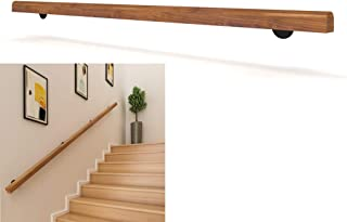 Complete Kit 1ft-10ft Wood//Pine Staircase Handrail Home Indoors Wall Mount Banister Rail