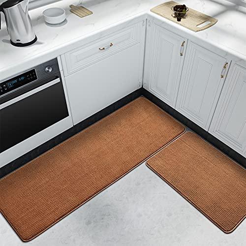 Color&Geometry Juego de 2 Piezas de Alfombra Cocina Lavable Antideslizante,alfombras Cocina 44x75cm+44x150cm,alfombras para Cocina Adecuada para pasillos,entradas,manteles Individuales.(Marrón)