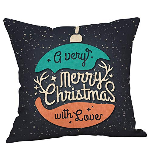 "Kissenbezug KissenhülleFghyh Frohe Weihnachten Kissenbezüge Leinen Sofa Kissenbezug Home Decor Kissenbezug 17.7""x17.7""(B, Einheitsgröße)"