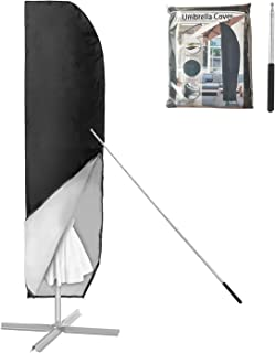 Parasolhoes met Stok Zweefparasol Afdekking 2 Tot 4 M Grote Parasol Beschermhoes Weerbestendig Uv-Bestendig Winddicht en S...