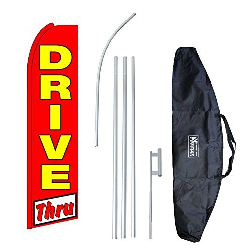 'Drive Thru (Extra Wide)' 12-Foot Swooper Feather Flag and Case Complete Set.Includes 12-Foot Flag, 15-Foot Pole, Ground Spike, and Carrying/Storage Case