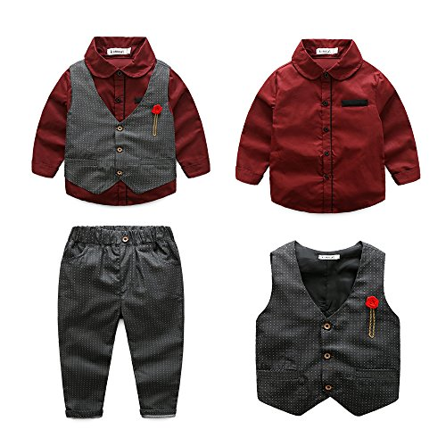Boys 3Pcs Clothing Sets Elegant Long Sleeve Shirts + Vest with Flower+Pants Party Suit (Red, 3-4Y(110#))