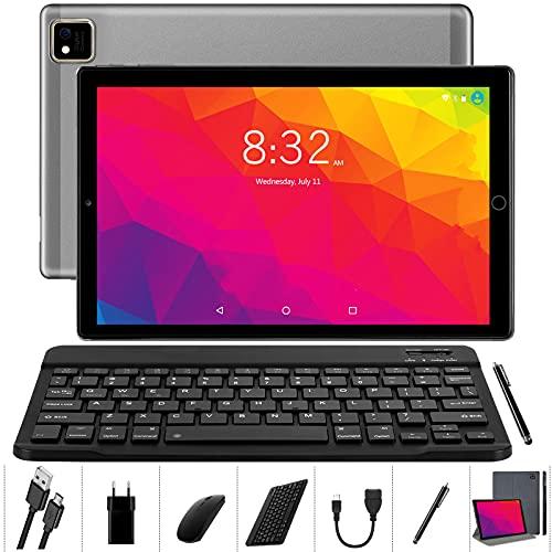 YOTOPT U10 Tablet 10 Pollici con Tastiera e Mouse, Octa-Core, Android 10.0 Tablet 64 GB di ROM, 4 GB di RAM, 4G LTE Dual SIM, WiFi GPS Bluetooth Tipo-c, Colore: (grigio)