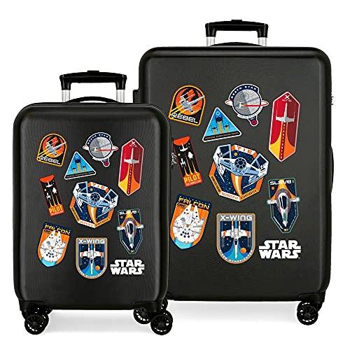 Star Wars Badges Juego de Maletas Negro 55/68 cms Rígida ABS Cierre de combinación Lateral 104 6 kgs 4 Ruedas Dobles Equipaje de Mano