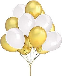 FECEDY 100 pcs Gold White Latex Balloons 12