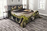 ABAKUHAUS Tier Tagesdecke Set, Natur Wilder Fox Forest, Set mit Kissenbezügen Sommerdecke, für Doppelbetten 220 x 220 cm, Mehrfarbig
