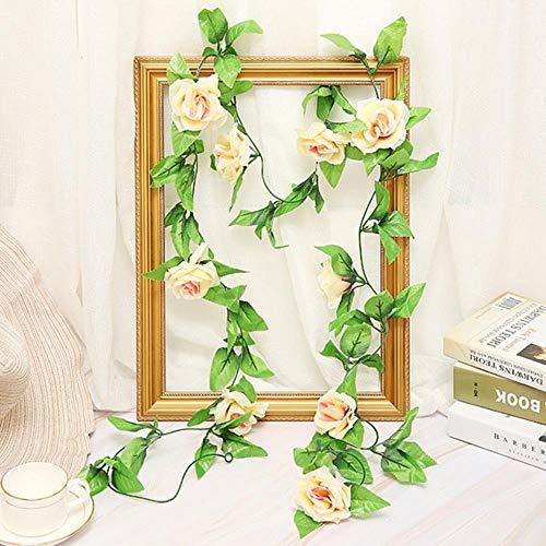 YaoJII Kunstbloem van zijde, roze, bladeren, slinger, klimop, bruiloft, bloemen, tuin, decoratie