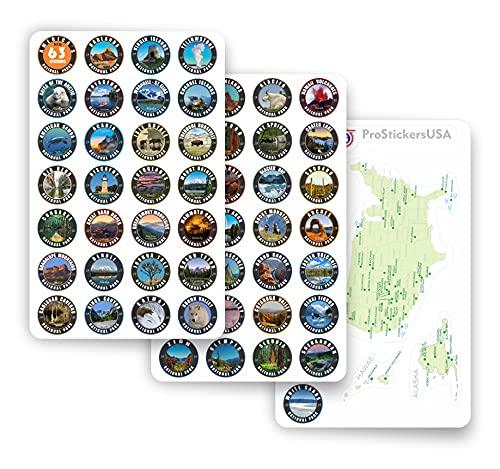 1X1 인치 컬렉션은 스티커를 모두 설정(63)국립 공원 미국|전체 컬렉션 라드|색상 비닐 스티커입니다. 미국 국립 공원의지도