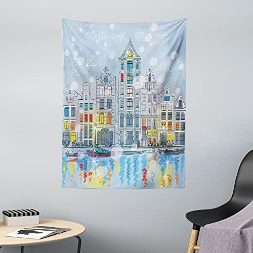 ABAKUHAUS Weihnachten Wandteppich & Tagesdecke, Amsterdam Canal Weihnachten, aus Weiches Mikrofaser Stoff Dreck abweichender Digitaldruck, 110 x 150 cm, Mehrfarbig