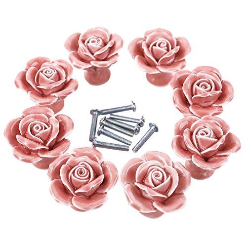 iVansa - Set di 8 Pomelli in Ceramica, Vintage Shabby Chic Maniglie Manopole per Cassetto Cucina Armadio Porta Bottoni - Rosa