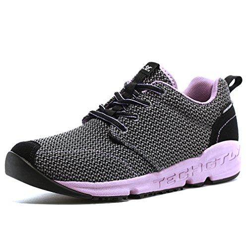 XIANG GUAN Femme Mesh Respirant Multisport Chaussures de Course Running Jogging Sneakers Outdoor Léger Chaussures Basses (EU 39, Gris foncé)