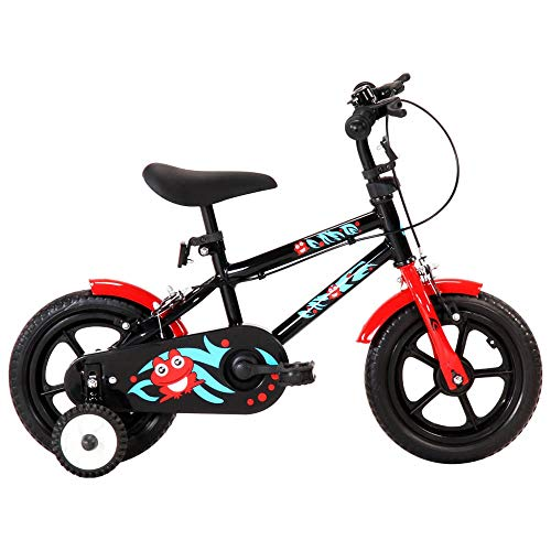 Autoshoppingcenter 12 Inch Children's Bicycle Steel Outdoor Kids' Bike with Removable Side Training Wheels Chain Guard 46-49.5 cm Height Adjustable Saddle for 2-4 Years Old Boys Girls [UK STOCK]