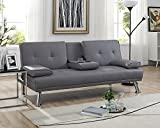 Naomi Home Futon Sofa with Armrest and Cupholders Gray