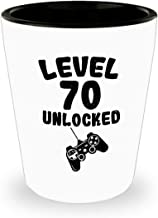 Level 70 Unlocked Shot Glass - 70th Birthday Gift For Video Gamer - 70 Years Old Funny Idea Gifts For Men Women - 1.5 Oz White Ceramic Jigger