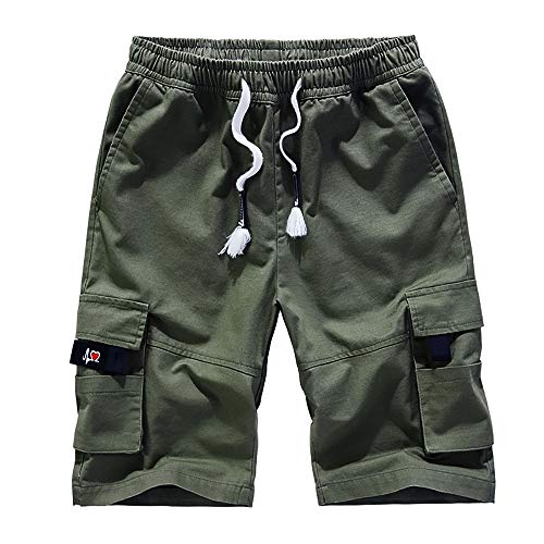 Cargo Shorts Mens Casual Cargo Shorts Classic Relaxed Fit Stretch Cargo Short Casual Summer Short Army Green