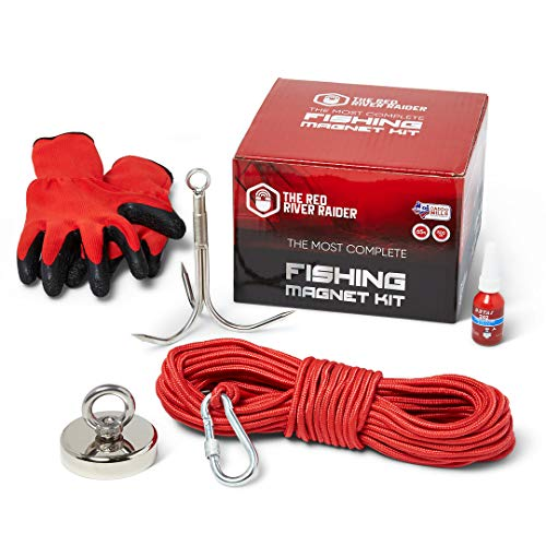 The Red River Raider Fishing Magnet Kit - Strong 500 lb Pull Neodymium - Magnet Fishing Hook - Gloves, Retrieving Rope, Carabiner, Grappling Hook - Treasure Hunting/Environmental Cleaning/Salvaging