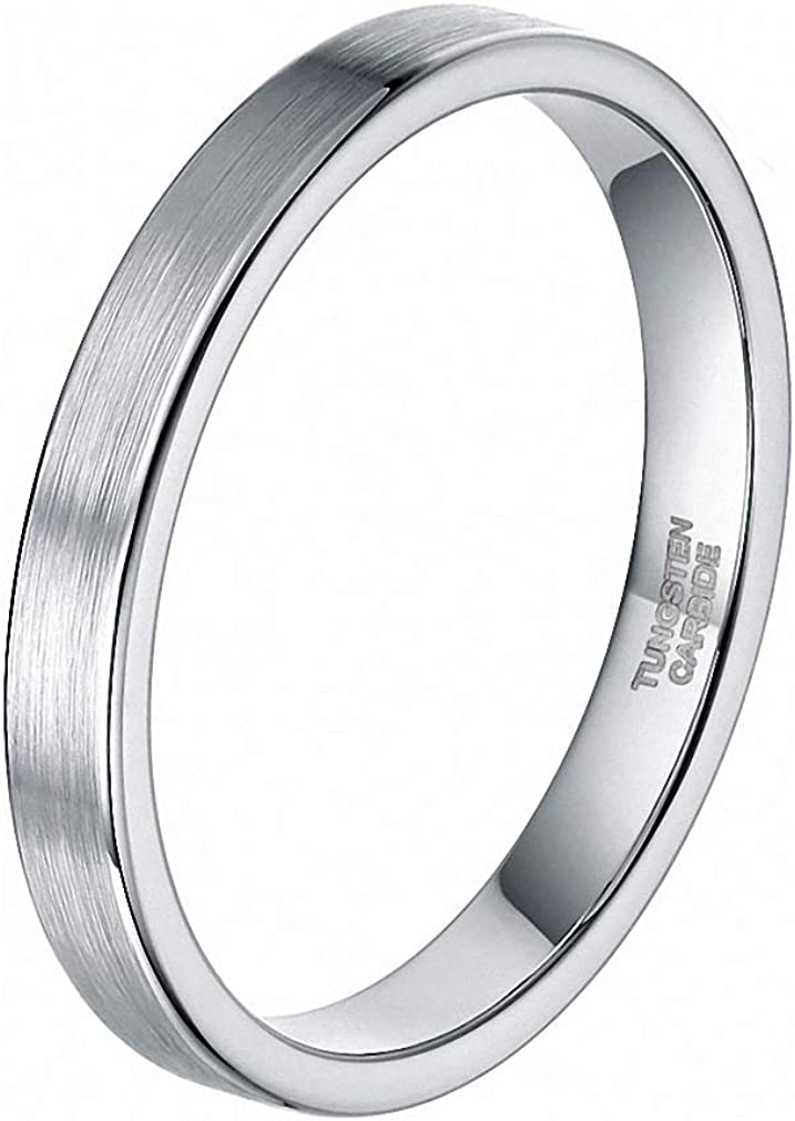 Ring 100% quality warranty! Women 3 mm supreme Silver Brushed Tungsten Polished Simple Fin