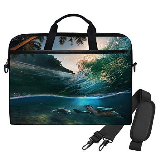 WIHVE Tropical Beach Sea Turtles Sunlight Diving Underwater Laptop Shoulder Messenger Bag Case Sleeve for 14 Inch 13 Inch Laptop Briefcase