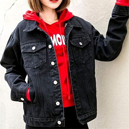NZJK Vrouwen Denim Jas Zwart Losse Jas Casual Vintage Denim Vrouwelijke Outwear Effen Kleur Single Breasted Jas