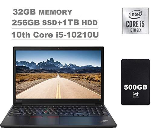 "2020 Lenovo ThinkPad E15 (E590) 15.6"" FHD Full HD (1920x1080) IPS Business Laptop (Intel Quad Core i5-10210U, 32GB DDR4 RAM, 256GB PCIe SSD+1TB HDD) Type-C, HDMI, Windows 10 Pro+IST 500GB"