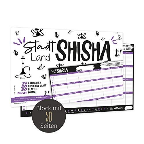 bigdaygraphix Stadt-Land-Fluss Shisha Gesellschaftsspiel A4 Block Partyspiel 50 Seiten