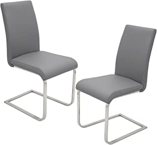 Best Master Furniture Mirage Faux Leather Parson Dining Chairs - Set of 2, Gray