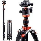 K&F Concept カメラ三脚 一眼レフ 171cm 三脚 一脚 アルミ 5段 軽量 コンパクト 360度回転 自由雲台 反転収納 クイックシュー ミラーレス ナットロック式 TM2515M1