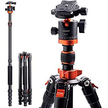 K&F Concept TM2515M1 67 inch Compact Lightweight Aluminum Travel Tripod 10kg/22lbs Load Capacity,with Monopod 360° Panorama Ball Head Compatible with DSLR Camera