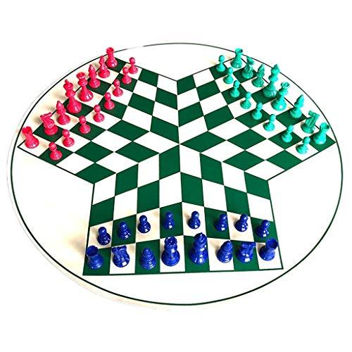 LOFAMI Conjunto de ajedrez de 3 Jugadores, Juego de ajedrez Popular de Cuero Verde Piezas de ajedrez de plástico Conjunto de ajedrez