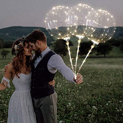 Bumen LED leuchten Party Glow in The Dark Luftballons Party Dekrationen für Weihnachten, Feier, Geburtstag, Hochzeit usw 3 PCS Glitter Ballons Modellierballons Luft-Ballon Premium Latex