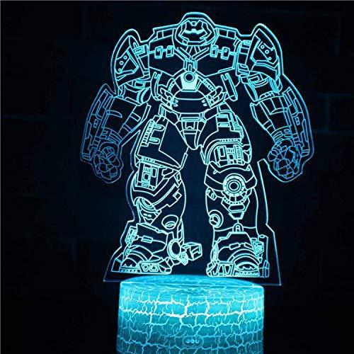 Lampada da tavolo a LED 3D Lampada da notte in acrilico Lampada da notte per bambini Decorazione regalo Personaggio cinematografico Hollywood Personaggio dei supereroi Robot superpotere