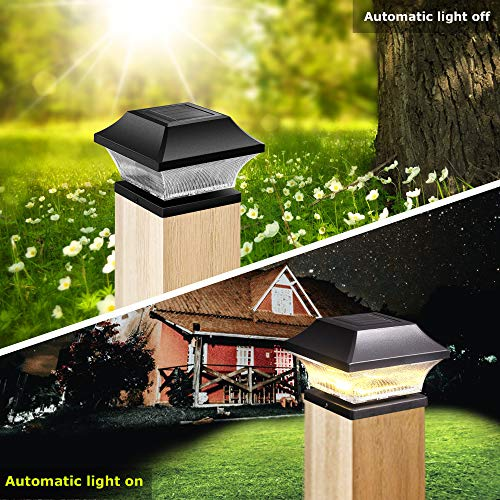 2 Color LED Solar Cap Lights for Fence Post,4 inch 5 inch Outdoor Post,Warm White and Day Light Selectable,Pack of 4
