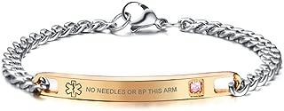 Custom Engraving Medical Symbol Rose Gold Plated Stainelss Steel CZ Link Bracelet Women Girl,7.6
