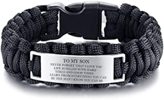 LF Mens Boys Stainless Steel Outdoor Rescue Rope Hiking Camping Hunting Paracord Survival Cuff Bracelet Sentimental Motivational Message Son Bracelet from Dad,Mom for Birthday