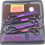 Tijeras de peluquería profesionales Tijeras de peluquero Tijeras de adelgazamiento Juego de tijeras de peluquería 7 pulgadas Rainbow 7inchset (Color: Gold Tamaño: 7inchset) -7inchset_Purple