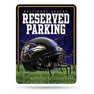 NFL Rico Industries 8.5-Inch by 11-Inch Metal Parking Sign Décor, Baltimore Ravens