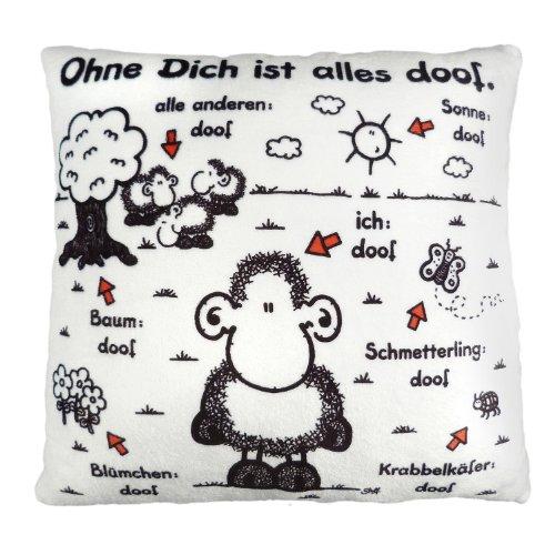 Sheepworld 42378 Plüsch Spruch Ohne Dich ist Alles doof, kleines Zier-Kissen, 25 cm x 25 cm Zierkissen, 100% Polyester, Mehrfarbig, 25 x 25 cm