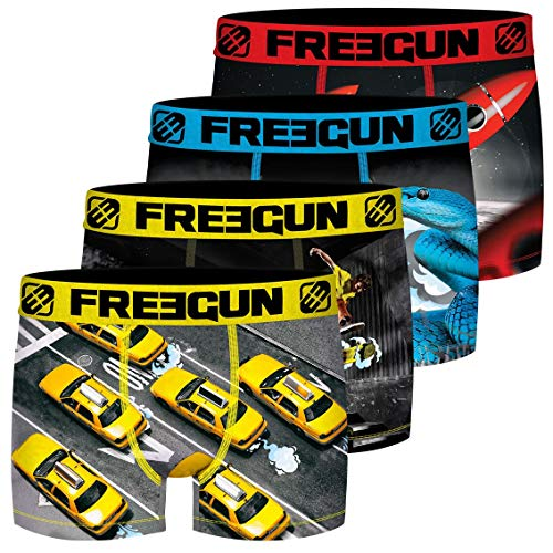 FREEGUN Lot de 4 Boxer Microfibre Slip, Multicolore (Multicolor G6), Small (Taille Fabricant:S) Homme