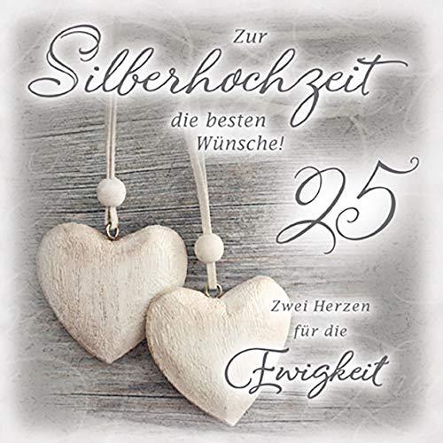 Karte zur Silberhochzeit Romantica - Herzen - 15 x 15 cm