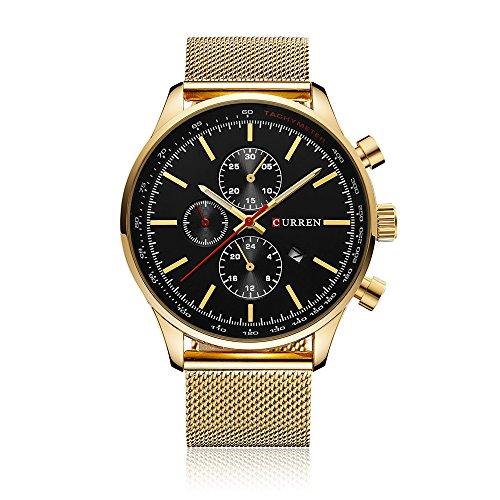 CURREN Herren Quarz Beiläufige Uhr 30M Wasserdicht Mann Geschäfts Armbanduhr Kalender Uhr für Mann
