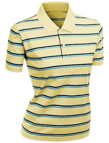 Women's 180-200 TC Silket Striped Polo Dri Fit Collar T-Shirt Yellow XXL