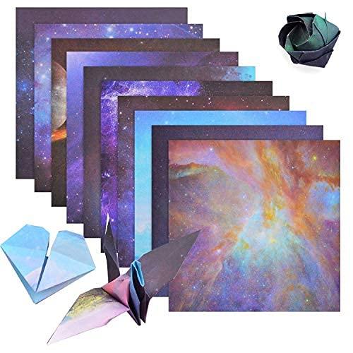 Origami Papel, 70 Hojas de Hermoso Cielo Estrellado Papel de Origami Plegable para Niño Adulto a Doblar Flores,Manualidades,Decoración de Papel Artesanal,15 * 15cm