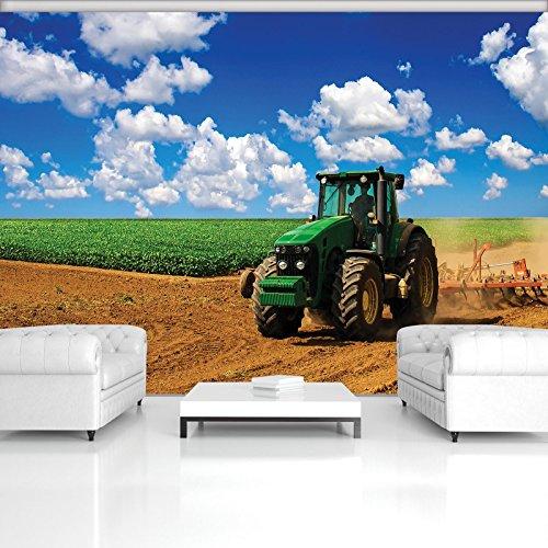 DekoShop Fototapete Vlies Tapete Moderne Wanddeko Wandtapete Grüner Traktor auf dem Feld AMD1909V4 V4 (254cm. x 184cm.) Transport