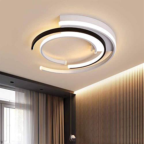 SANTITY Plafón LED de Techo Regulable Lámpara Techo de Dormitorio Moderno Diseño de Anillo Fabricado en Metal para Comedor Salón Oficina Luz Interior 36W 3000K/4500K/6000K Decoración Iluminación 40CM