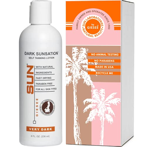 Sun Laboratories Sunless Indoor Self Tanning Lotion for Body & Face | Dark Tint for All Skin Types | Instant, Fast Drying, Streak-Free Bronzing Cream | Very Dark, 8 Oz (Packaging May Vary)