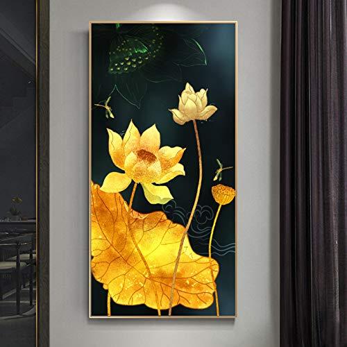 Elegante Lotus Art Canvas Painting Modern Wall Art Pictures para la sala de estar Decoración del hogar Diseño de pared Modular 60X120cm Marco
